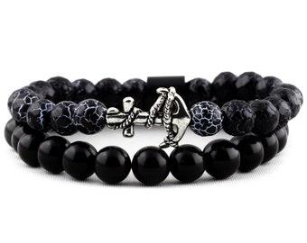 Bracelet Package: Cracked Agate, Silver Anchor & Natural Obsidian Gemstone