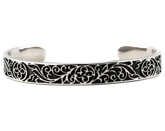 316 Stainless Steel Cuff | Carved Floral Pattern