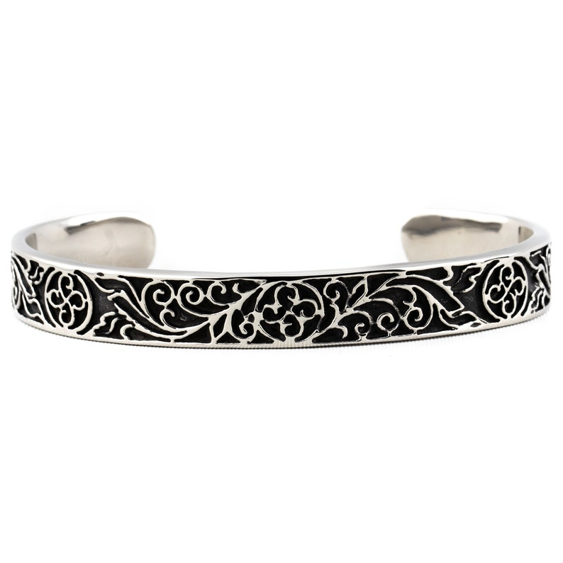 316 Stainless Steel Cuff  Carved Floral Pattern image 0