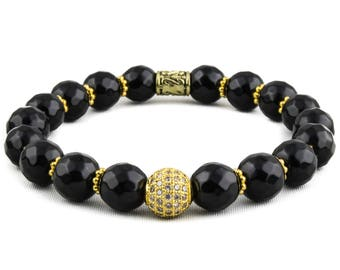 Get the Glory: 18K Gold Pave CZ Bead & Faceted Black Gemstone