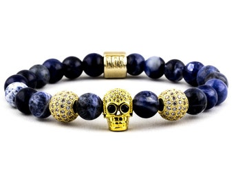 Skull Diver: Blue Sodalite, 18K Gold Micro Pave and 18K Gold Skull