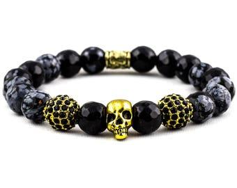 Snowflake Obsidian & Gold Skull