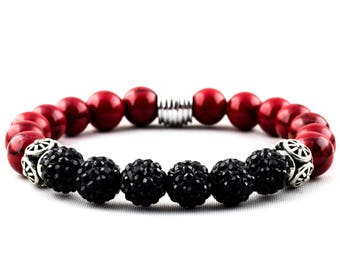Channel Your Elite: Red Synthetic Turquoise & Black Clay Polymer