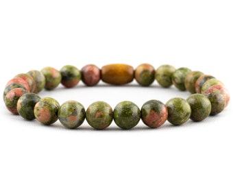 Bracelet: Natural Unakite Gemstones