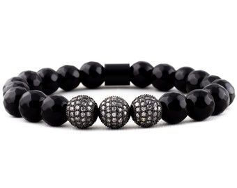 Bracelet: VIP Access - Black Agate Gemstone & Micro Pave CZ