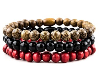 Bracelet: Clean & Tranquil Black, Red and Coconut Brown Natural Wood Beads