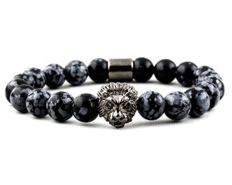 Gunmetal Lion & Snowflake Obsidian Gemstone