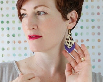 Leopard and Purple Leather Earrings - Real Leather Earrings