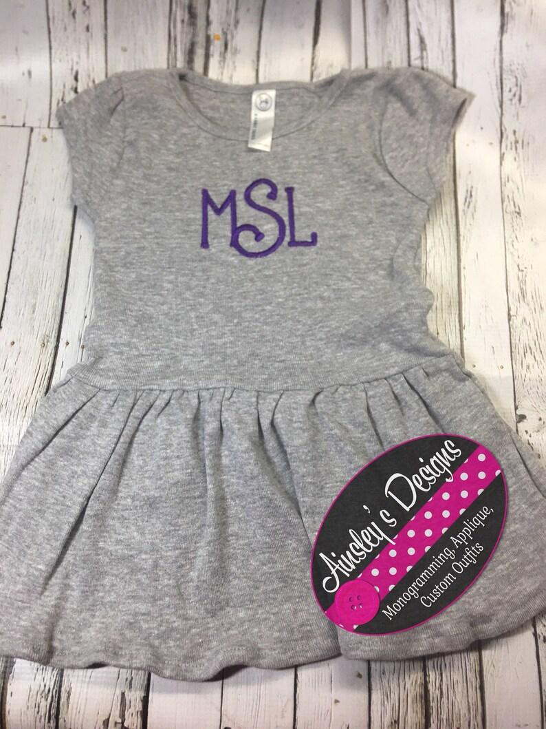 In pink grey or white! black Monogramed baby girl toddler girl dress
