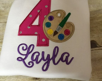 Painting applique birthday shirt! Personalized! All birthday numbers or without!