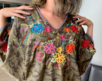 hand embroidery oxacan Fiesta blouse,Mexican embroidered tunic embroidered checkered blouse huipil plus size Ukrainian embroidery