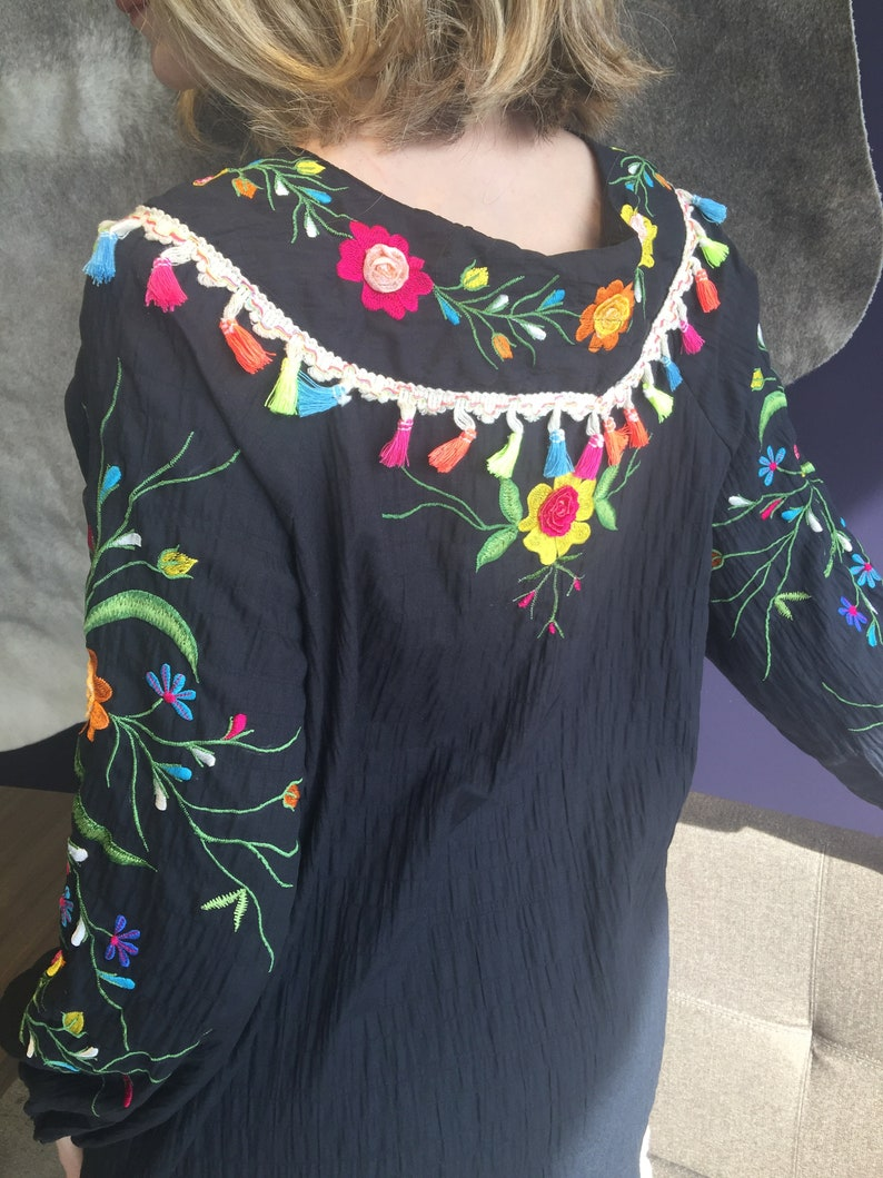 fiesta hand embroidery cotton tunic cruise huipil plus size cinco de mayo resort Mexican embroidery