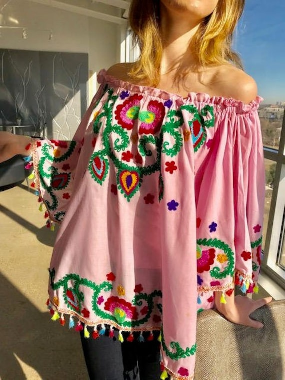Mexican embroidered blouse, plus size , cruise ,Ukrainian, hand embroidered  tunic, fiesta , off the shoulder, western, Santa Fe