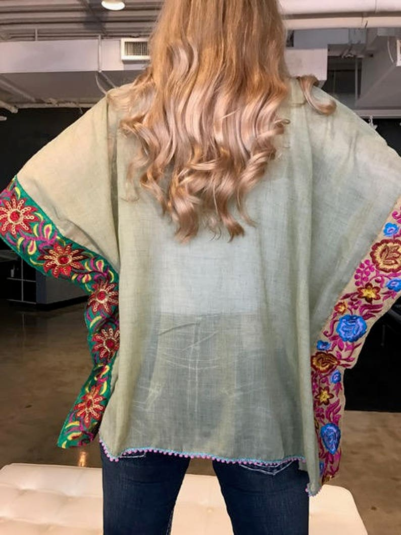 boho chic embroidered tunic Fiesta poncho,Mexican embroidery poncho plus size
