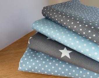 Fabric Bundle For Dog Lovers Blue Multi 4 Fat Quarters 100/% Cotton Poplin