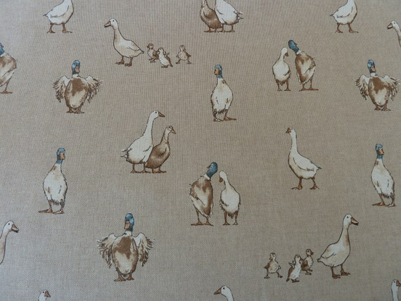 "140cm Width Swans Design Cotton Rich Linen Fabric Curtaining /& Upholstery 54/"""
