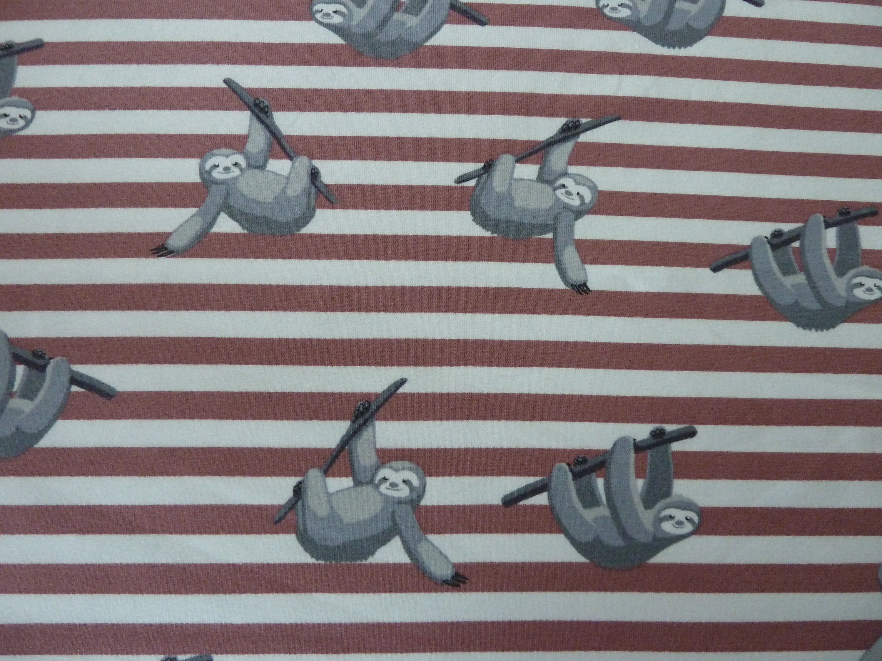 051e139b924 Sloths Jersey Fabric Rosewood Pink/Brown and White Stripe   Etsy