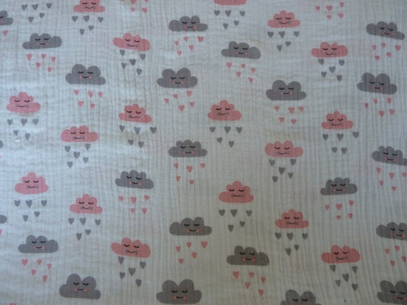 Printed MUSLIN Double Gauze Cotton Fabric Cloth MOUSE WHITE
