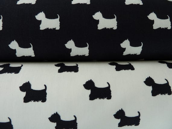 Dog Fabric Scottie Dogs Westies Cairn Terrier Black Ivory White 100 Cotton Poplin Quilting Dressmaking Soft Furnishings Crafts