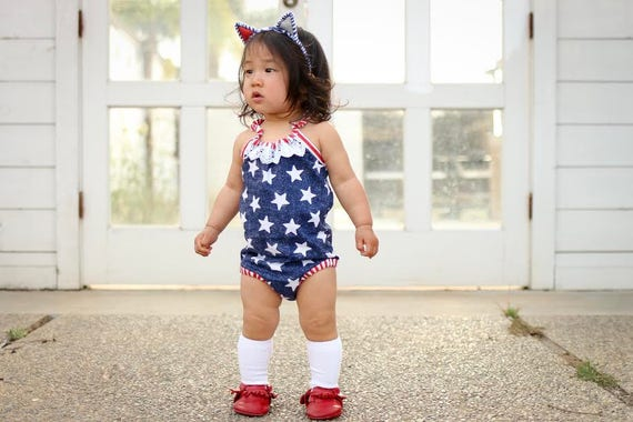 d62c0718fb3 Stars   Stripes Romper Baby Toddler Rompers Sunsuit