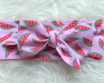 Watermelons Head Wrap, Baby Head Wrap, Big Bow Headband, Turban, Topknot, Baby Headband, Bow, Toddler Adult Headwrap, Watermelon Bow, Knot