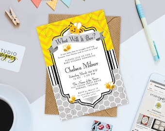 honeybee printable baby shower invitation custom bee theme baby shower printable 5 x 7 invitation