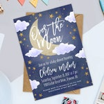 "Over the Moon Baby Shower 5"" x 7"" Invitation, Moon and Stars Shower Printable Invitation, Good Night Moon Baby Shower Invitation"