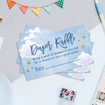 "Starry Sky Printable Diaper Raffle Tickets, Moon and Stars Baby Shower Diaper Raffle Tickets, 3.5"" x 2"" Diaper Raffle Tickets, Digital File"