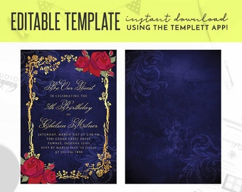 Beauty And The Beast Gold Frame Roses Fairy Tale Printable 5 X 7 Editable Template Birthday Invitation Templett
