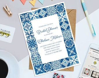 azulejo tile bridal shower printable 5 x 7 invitation modern bridal shower invitation moroccan shower invitation
