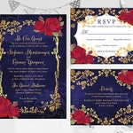 Beauty and the Beast Fairy Tale Printable Invitation Set with RSVP and Details, Red Roses Gold Frame Mirror Wedding Invite RSVP Details Set