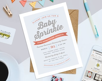 "Baby Sprinkle 5"" x 7"" Baby Shower Invitation, Baby Shower Cupcake Printable Invitation, Printable Baby Shower Invitation"