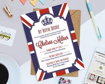"Royal British Bridal Shower Invitation, By Royal Decree Bridal Shower Printable 5"" x 7""  Invitation, British Bridal Shower Printable Invite"