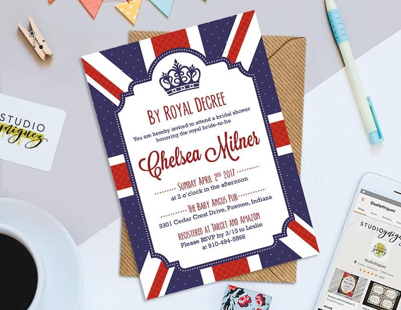 Royal British Bridal Shower Invitation By Royal Decree Bridal image 0