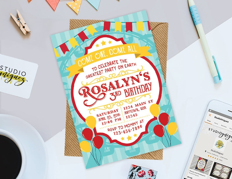 Carnival // Circus Birthday Printable Invitation Circus image 0