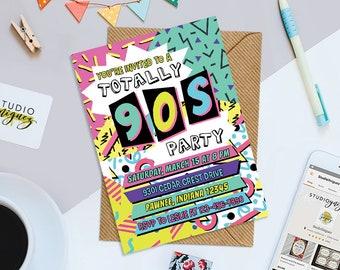 "90s Theme Birthday Party Printable Invitation, Neon Printable 5"" x 7"" Birthday Party Invitation, Nineties Theme Invitation, Digital File"