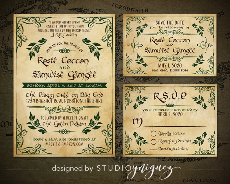 Fantasy Wedding Printable Invitation Suite Woodland Printable image 0