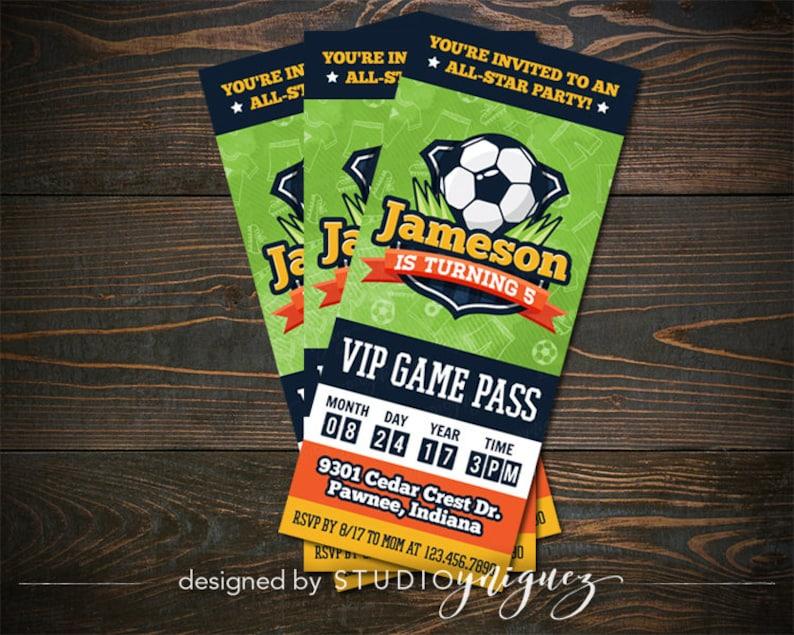 Soccer Ticket Printable 3 x 7 Birthday Invitation image 0