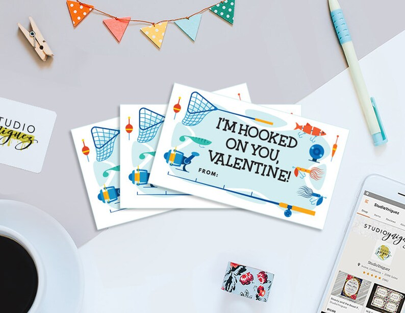 Hooked On You Printable Tags 3.5 x 2 Valentine image 0