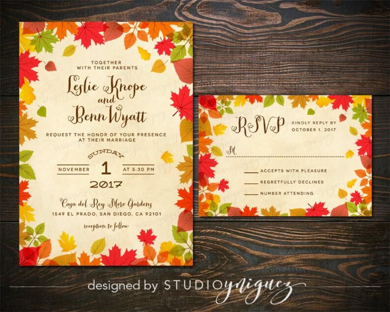 Autumn Leaves Printable Wedding Invitation Set Fall Wedding image 0