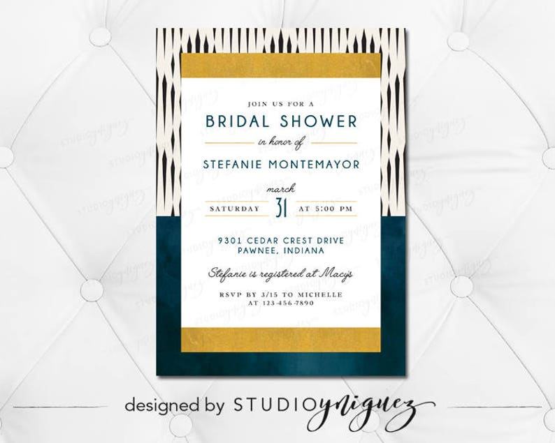 Navy Blue Gold Black Bridal Shower Printable 5 x 7 image 0
