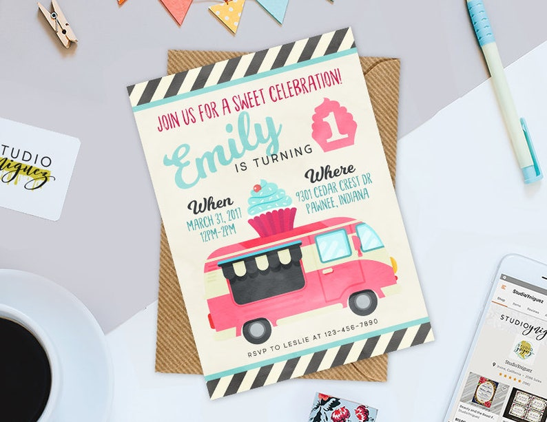 Cupcake Truck Birthday Printable Invitation Cupcake Printable image 0