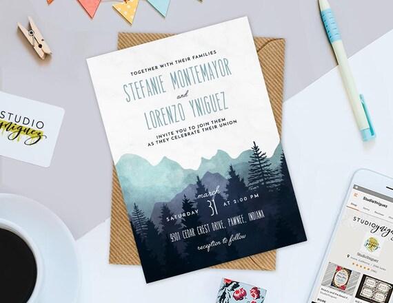 Berg Hochzeit Druckbare Einladung Natur 5 X 7 Etsy