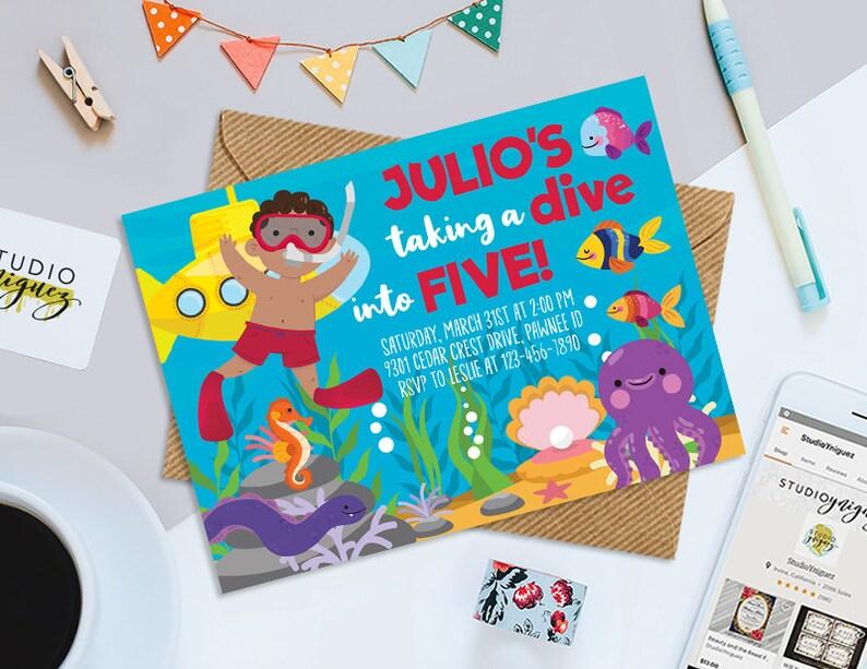 Snorkel Birthday Printable 7 x 5 Invitation image 0