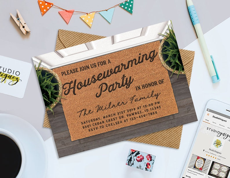 Doormat Housewarming Party Printable 7 x 5 image 0