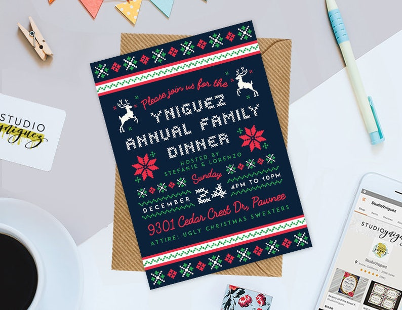 Christmas Party Printable 5 x 7 Invitation Ugly image 0