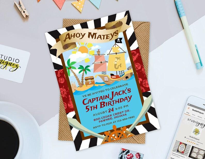 Pirate Themed Birthday Printable Invitation Ahoy Mateys image 0