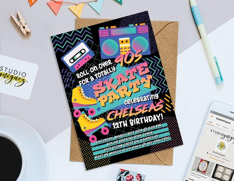 90s Theme Birthday Party Printable Invitation Skate Party image 0