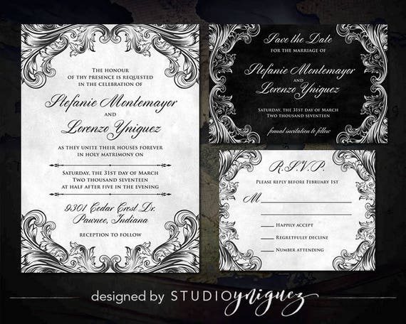 Medieval Wedding Invitation Wording: Silver And Black Medieval Wedding Printable Invitation