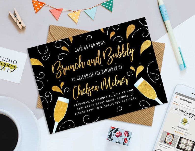 Brunch and Bubbly Birthday Printable 7 x 5 image 0